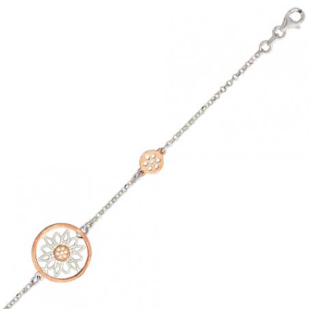 Bracelet bicolore en argent et doré or rose, motifs geometriques ajourés et pleins