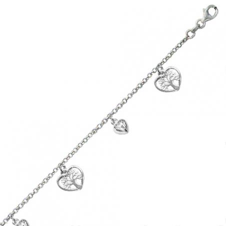Bracelet breloque en argent, motifs coeurs et arbres de vie ajourés