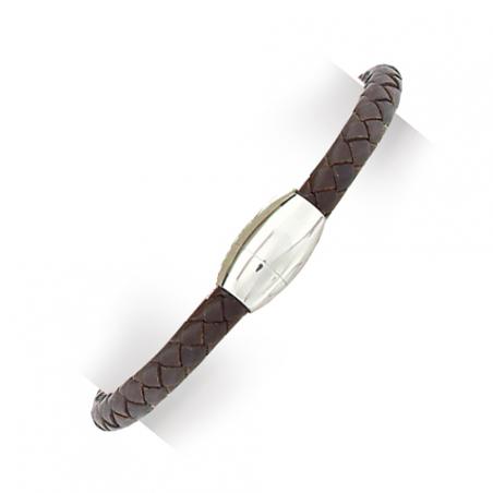 Bracelet en acier et cuir marron