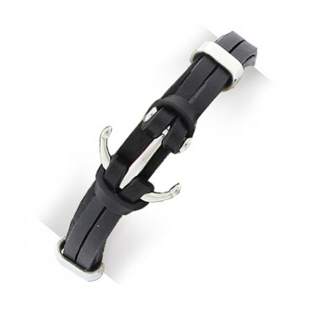 Bracelet en acier et cuir noir, motif ancre