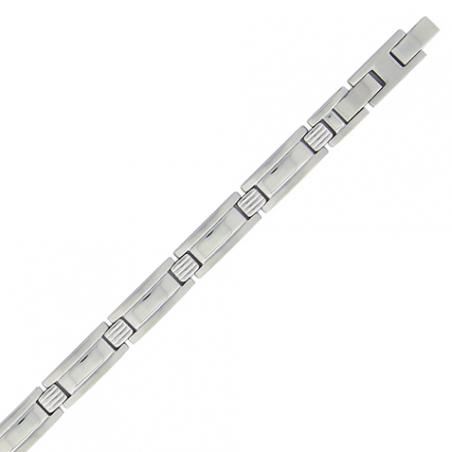 Bracelet en acier mate et brillant avec fermoir rallonge de 2 cm