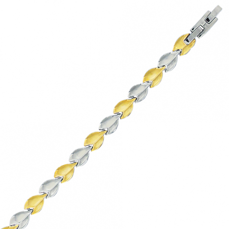 Bracelet en acier motif feuille bicolore