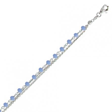 Bracelet en argent 3 rangs, motif pierres bleues