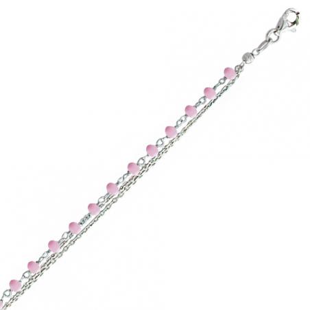 Bracelet en argent 3 rangs, motif pierres roses