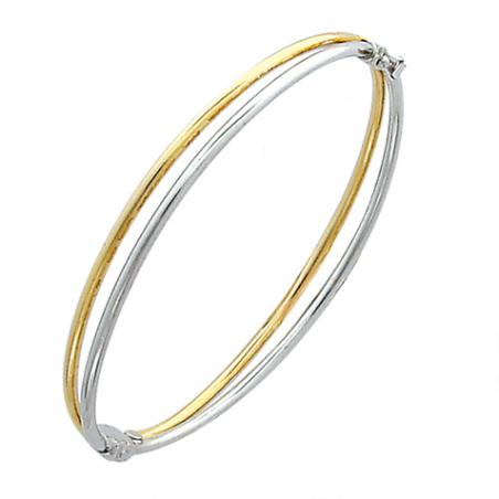 Bracelet en argent bicolore ouvrant