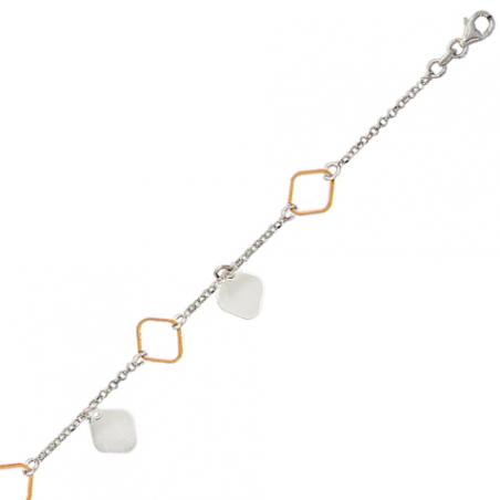 Bracelet en argent bicolore rose, motif losanges plein et doré or rose
