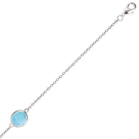 Bracelet en argent pierre bleue sertie clos