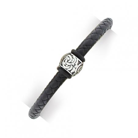Bracelet en cuir tressé et acier - avecÊperle en argent veilli