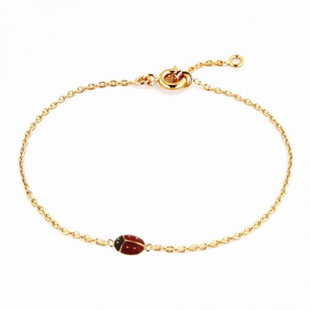 Bracelet en plaqué or, motif coccinelle avec chaine reglable de 2 cm