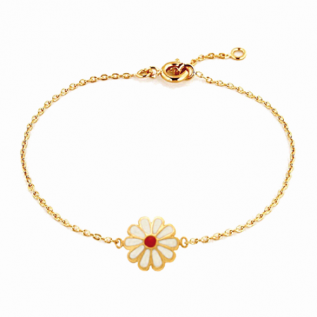 Bracelet en plaqué or, motif fleur ajouré, email, avec chaine reglable de 2 cm