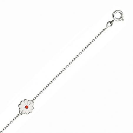 Bracelet enfant en argent, motif fleur émaillée blanc et rouge, avec chaine réglable de 2 cm