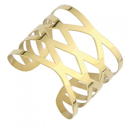 Bracelet manchette acier doré, croissillons ajourés