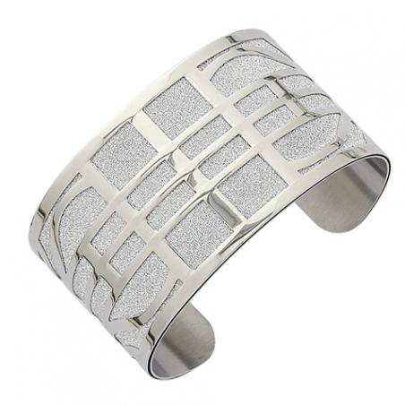 Bracelet manchette en acier granité, motif grille