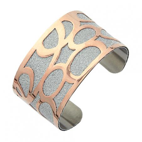 Bracelet manchette ouverte en acier rose et granité, motifs boucles