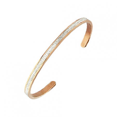 Bracelet rigide en acier doré or rose et cristal