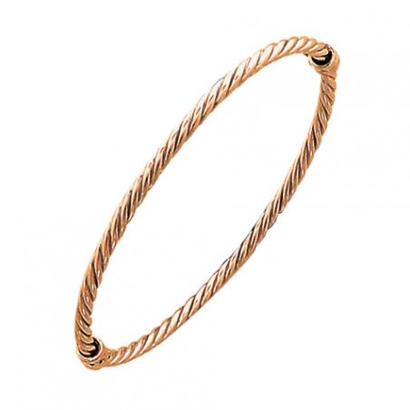 Bracelet rigide ouvrant en argent doré or rose torsadé
