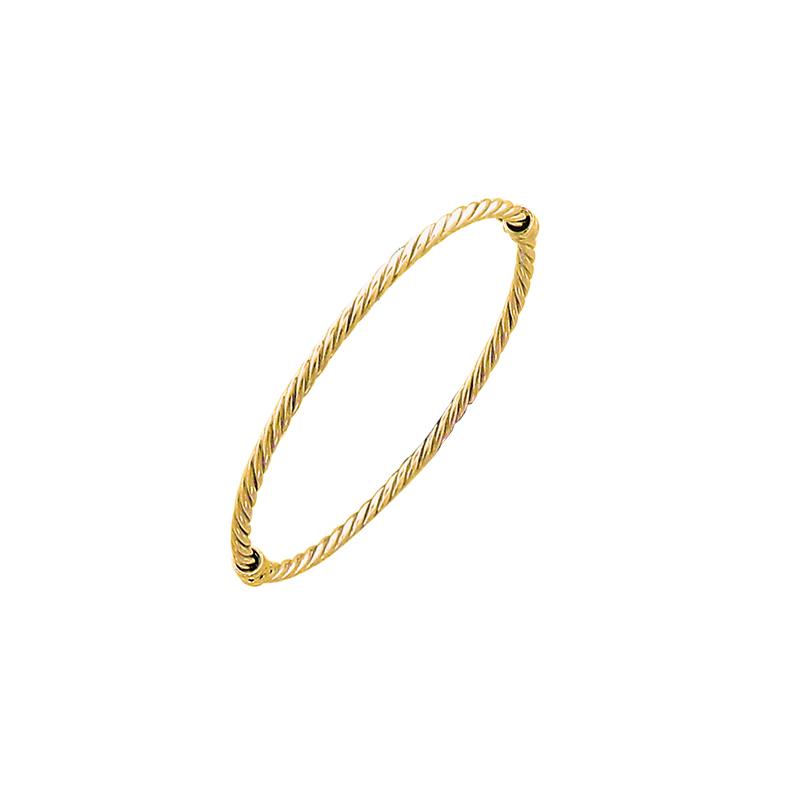 Bracelet rigide ouvrant en argent doré torsadé