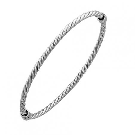 Bracelet rigide ouvrant en argent torsadé