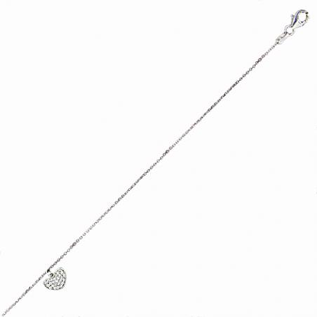 Chaine cheville en argent, motif coeur pavé en oxyde de zirconium, avec chaine réglable de 2 cm