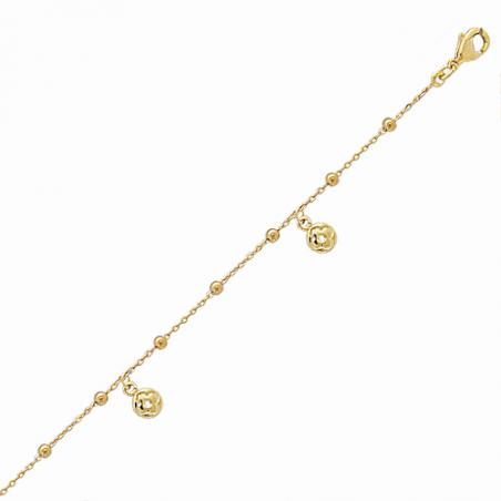 Chaine cheville en plaqué or, pampilles trfles, avec chaine reglable de 6 cm