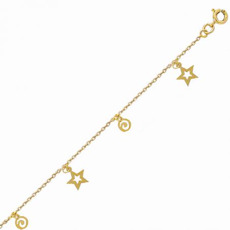 Chaine cheville en plaqué or, pampilles étoiles, avec chaine reglable de 2 cm