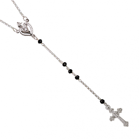 Chapelet avec des pierre noir motif croix et coeur argent