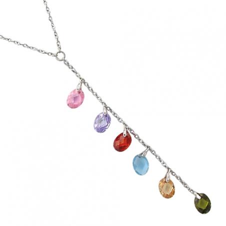 """Collier """"Y"""" argent et oxyde de zirconiums de couleur, avec chaine reglable de 3 cm"""