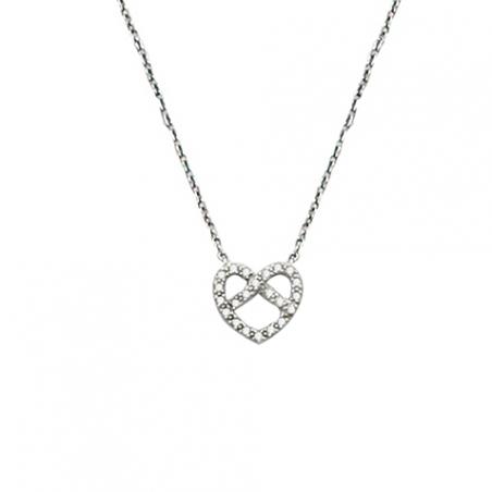 Collier coeur en argent et oxyde de zirconium