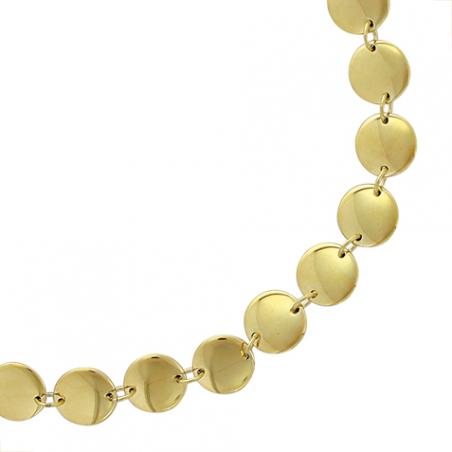 Collier en acier doré brillant, motifs pastille