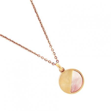 Collier en acier, pendentif démi cercle et nacre rose