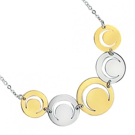 Collier en argent bicolore, motif cercles ajourés