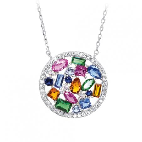 Collier en argent et oxyde de zirconium multi couleur, cercle ajouré, avec chaine regable de 3 cm