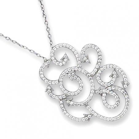 Collier en argent et oxyde de zirconium, motif arabesques