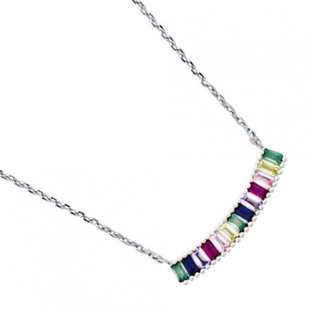 Collier en argent et oxyde de zirconium, motif baguettes multi couleur, avec chaine reglable de 3 cm