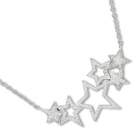 Collier en argent et oxyde de zirconium, motifs étoiles ajourées et pavées, avec chaine reglable de 5 cm