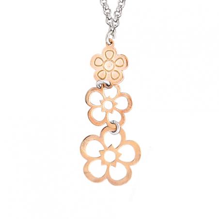 Collier en argent motif trois fleurs or rose