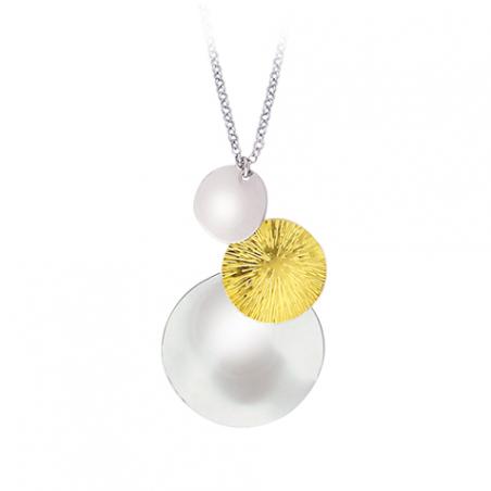 Collier en argent, motif trois pastilles bicolore, doré or jaune et argent