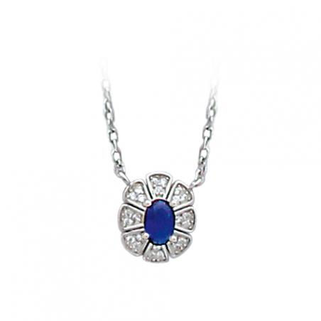 Collier en argent, oxyde de zirconium, blanc et bleu avec chaine réglable de 3 cm