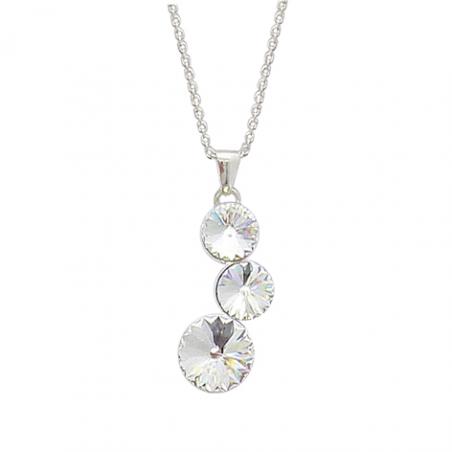 Collier en argent, trois cristaux, avec chaine reglable 2 cm