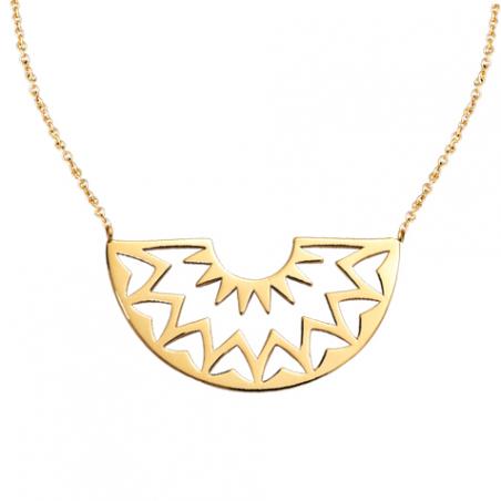 Collier en plaqué or motif demi cercle ajouré, avec chaine reglable d 4 cm