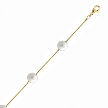 Collier en plaqué or, chaine serpent et perles d'imitation