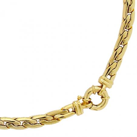 Collier en plaqué or, maille forat serré et plate,  fermoir bouée