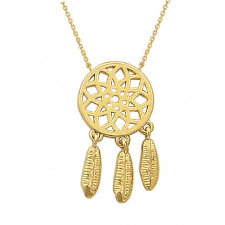 Collier en plaqué or, motif attrape rève, avec chaine reglable de 3 cm
