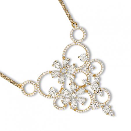 Collier en plaqué or, motif fleur et arabesques en oxyde de zirconium