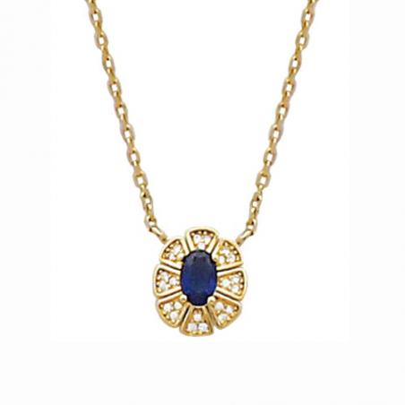 Collier en plaqué or, oxyde de zirconium, blanc et bleu avec chaine réglable de 3 cm