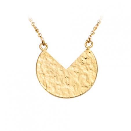 Collier medaille martélée en plaqué or
