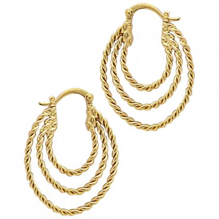Créoles 3 fils torsadé forme ovales, en plaqué or