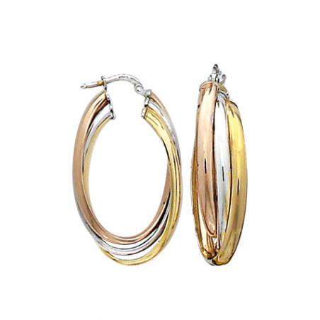Créoles en agent anneaux ovales tricolores entrelacés