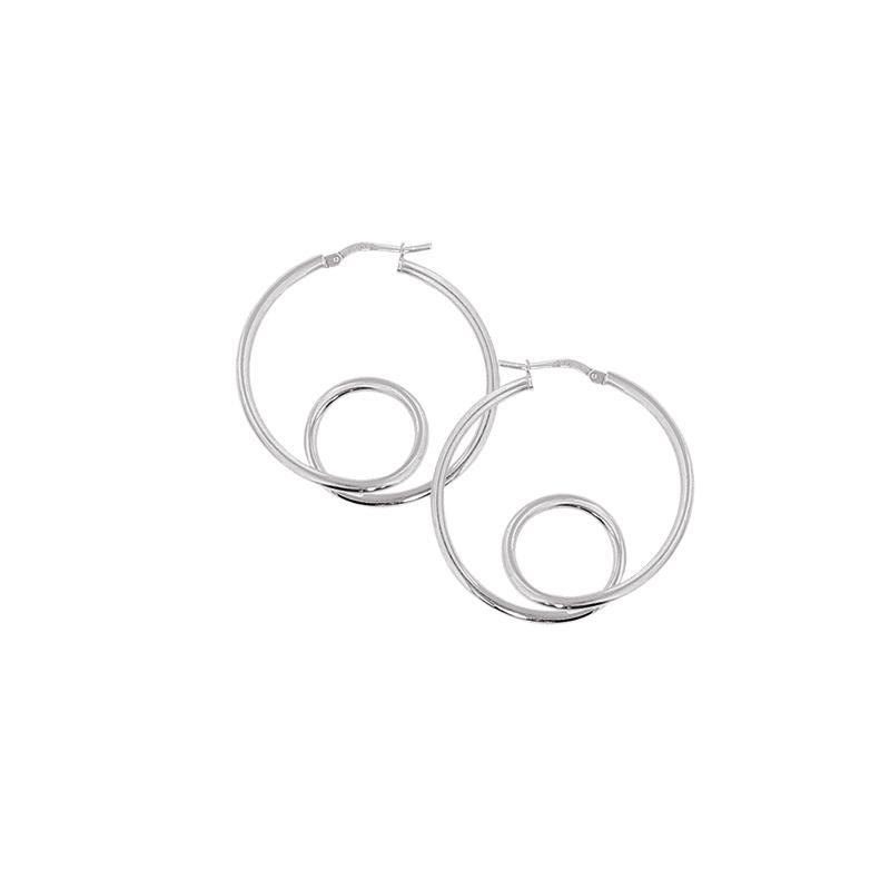 Créoles en argent avec boucle en partie inferieure