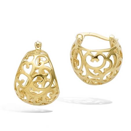Créoles en plaque or, motif boules avec arabesques ajourés